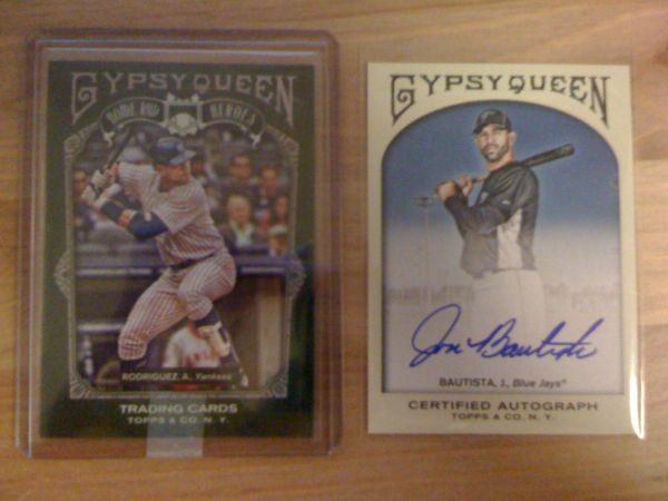 2011 Gypsy Queen: A-Rod Home Run Heroes insert and Jose Bautista Auto