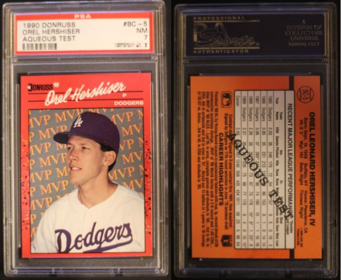 "1990 Donruss Orel Hershiser ""Aqueous Test"""